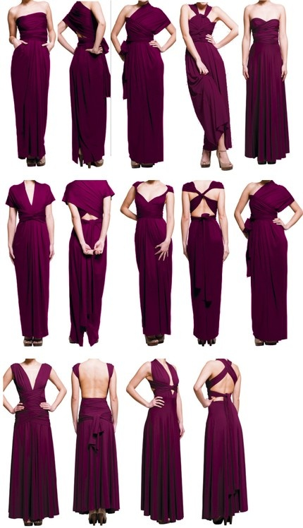 more convertible options- the best thing is the girls can express themselves by tying it different. But it's the same dress! For 6 bridesmaids