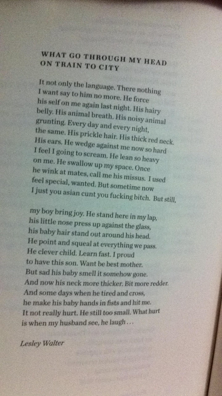What go through my head on train to city (poem) by Lesley Walter in Meanjin, Vol.69, No.2, Winter 2010, p.232.
