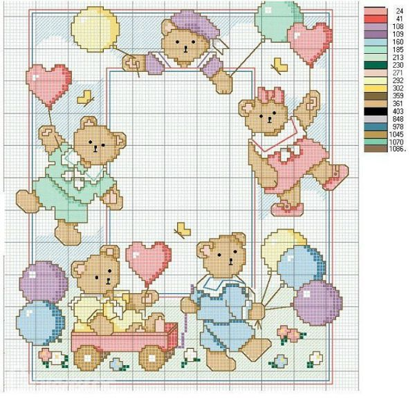 Teddies with Balloons picture frame