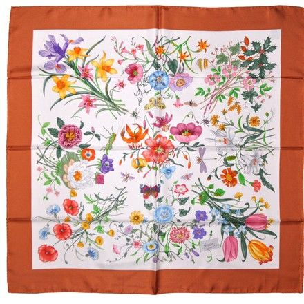 Gucci NEW Gucci Flora Silk twill garden floral print Large Scarf
