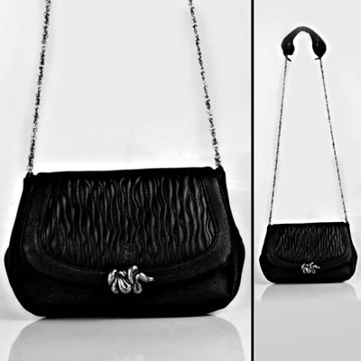 Bellini Bag Quicksilver Black. Bags are available in black or grey leather.