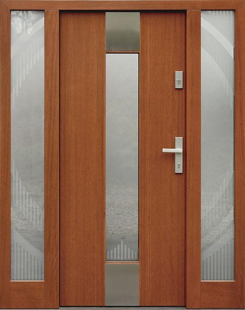 Drzwi zewnętrzne z doświetlami dostawkami bocznymi model z szybą wzór 440,1-440,11+ds4 w kolorze ciemny dab.