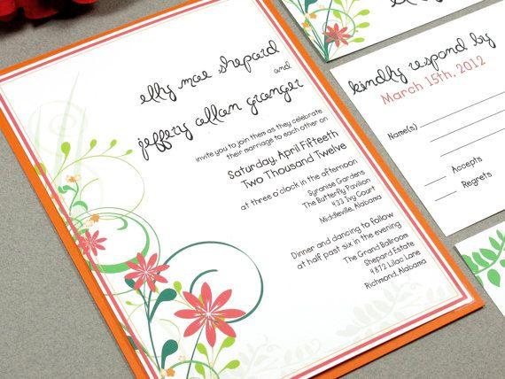 Floral Wedding Invitation Set, Rustic Wedding Invitations, Garden Wedding  Invites, Outdoor Wedding Invitation