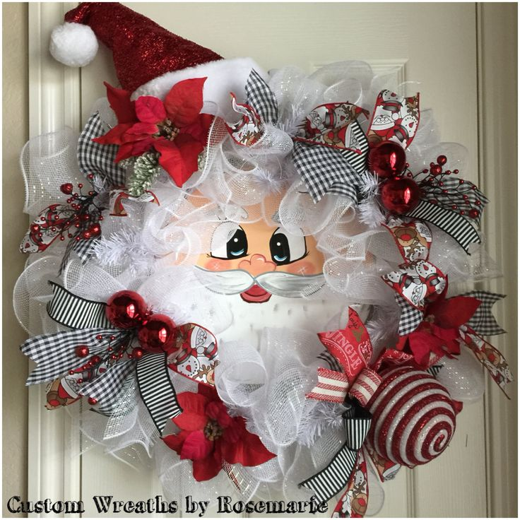 25 best ideas about santa wreath on pinterest christmas Making wreaths