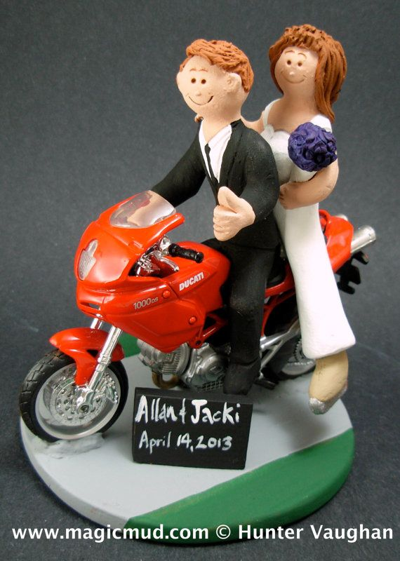 Bride and Groom on Ducati Sportbike Motorcycle Wedding Cake Topper, Motorcycle Wedding Cake Topper, Motorcycle Riders Wedding Cake Topper    Honda, Suzuki, Kawasaki, Ducati, BMW, Harley, Yamaha or Triumph motorcycle Sportbike Wedding Cake Topper custom created for you! Perfect for the marriage of a motorcycle riding Groom and his Bride!    $235 #magicmud 1 800 231 9814 www.magicmud.com