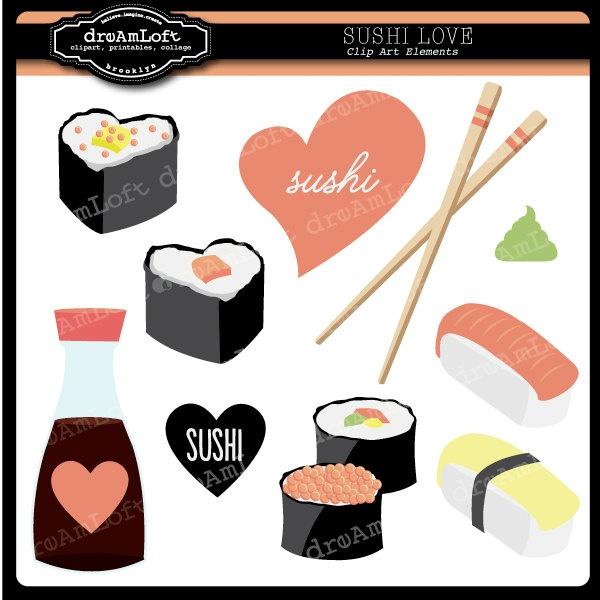 Sushi Love Clip Art Digital great for Valentine's Day. $4.99, via Etsy.