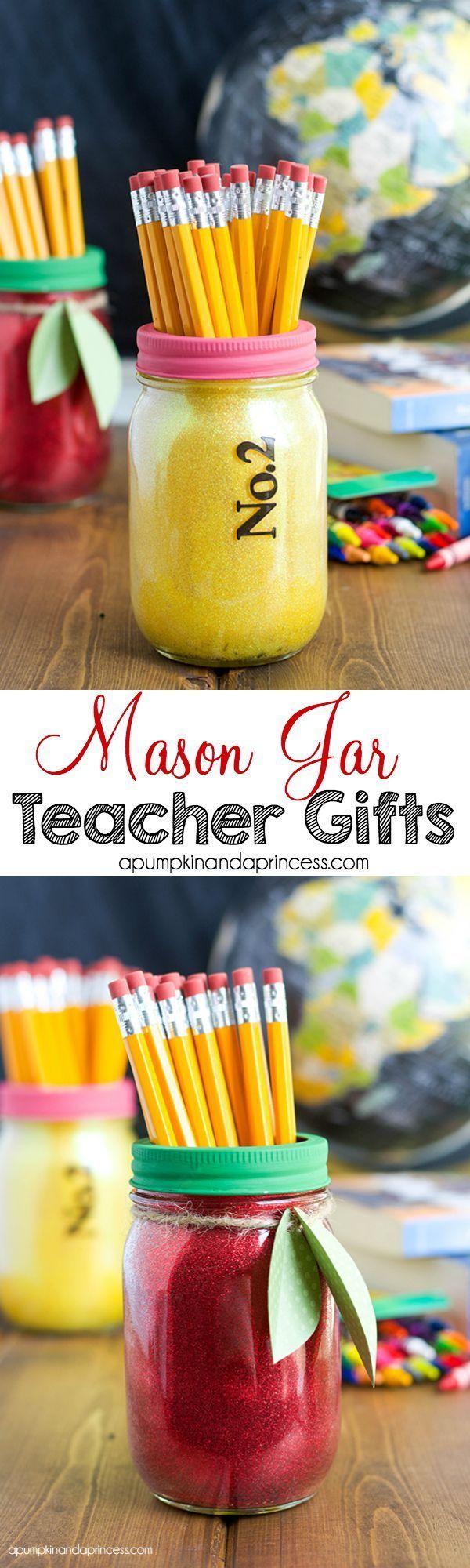 Glitter Mason Jar Teacher Gifts - A Pumpkin And A Princess