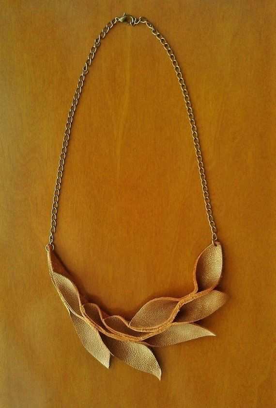 Gold Leather Leaf Bib Necklace by MikaMikaBags