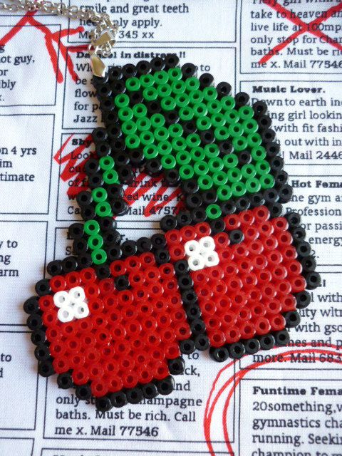 Hama Bead Red Cherries Necklace.