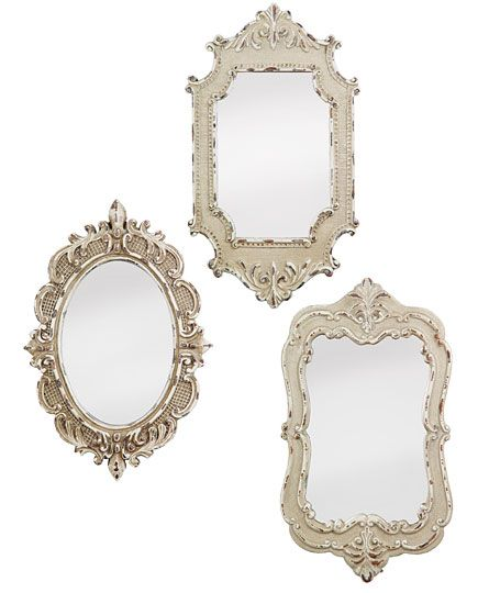 set of 3 antiqued vintage style plasticland mirrors01