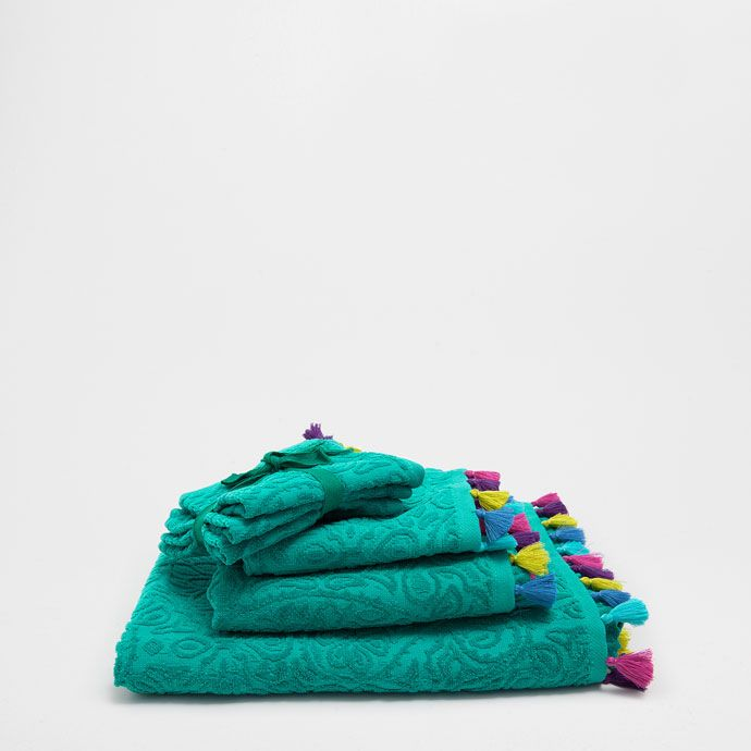 MULTICOLOURED JACQUARD TOWEL WITH POMPOMS - Bathroom | Zara Home United Kingdom