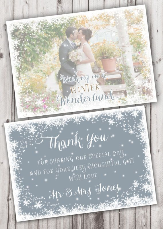 Personalised Photo Winter Wonderland Christmas Wedding Thank You Cards 10 S In