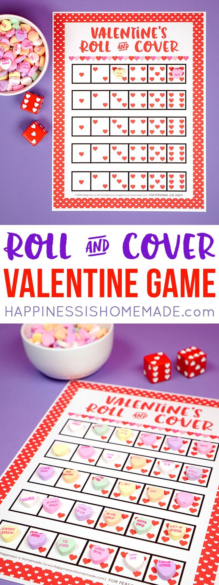 Valentine Games - Roll & Cover - Looking for a fun and easy Valentine's Day game for your classroom, family, church, or playgroup? This Roll & Cover Valentine Game is fun for kids of all ages! Use our free printable valentines game and race to be the first to cover all of the dice with candy hearts! via @hiHomemadeBlog  #Valentine #Valentines #ValentinesDay