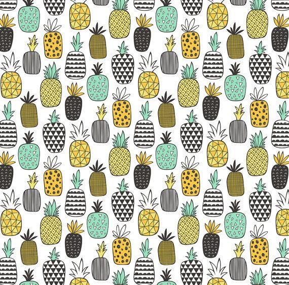 Geometric Fruit Fabric  Pineapple Geometric On by Spoonflower