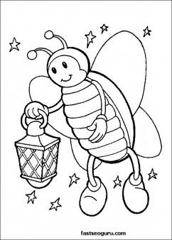 Fire Fly Coloring Pages Kids