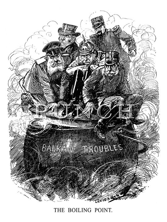 """""""The Boiling Point."""" - A sign of trouble ahead from this 1912 cartoon, which would eventually lead to WW1- Punch magazine"""