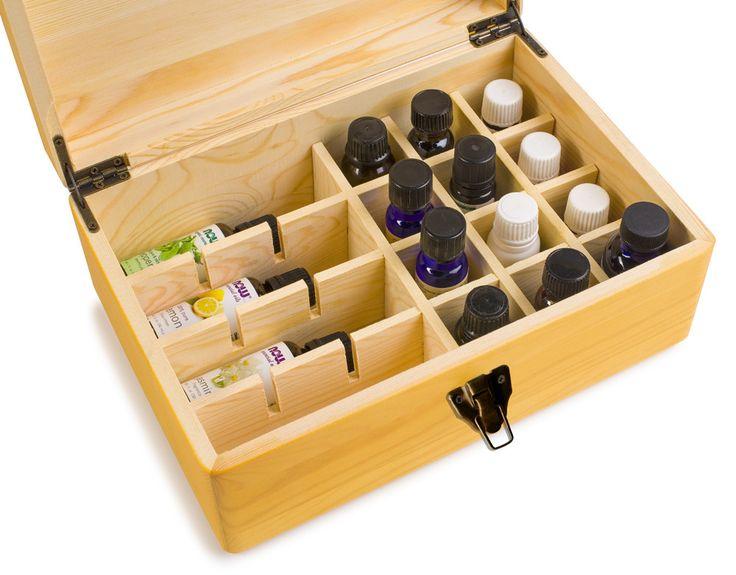 Welledia AromaStorage Essential Oil Wooden Box, Large, Fits 24 Bottles #WEL-900