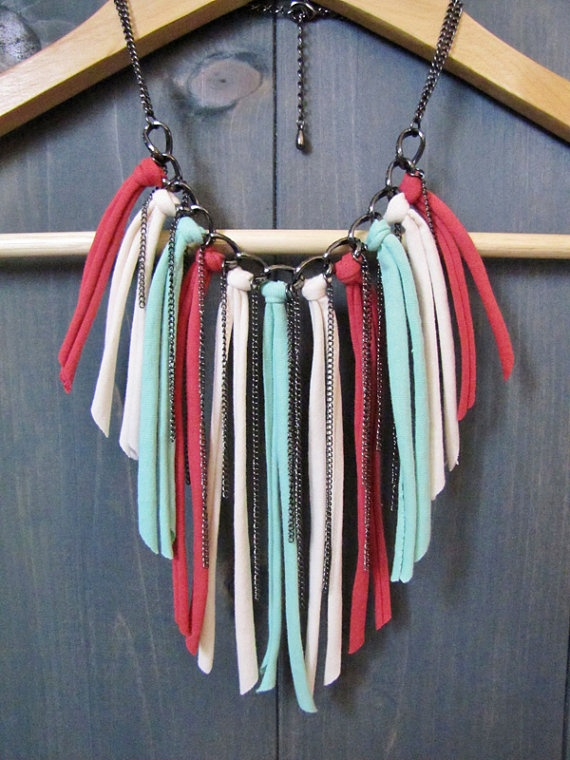 Fabric Fringe Multistrand Bib Necklace in Seafoam by imprintalish, $20.00