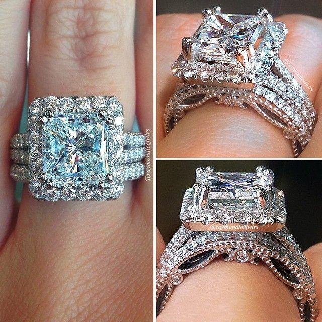 3 carat radiant cut Custom halo engagement ring