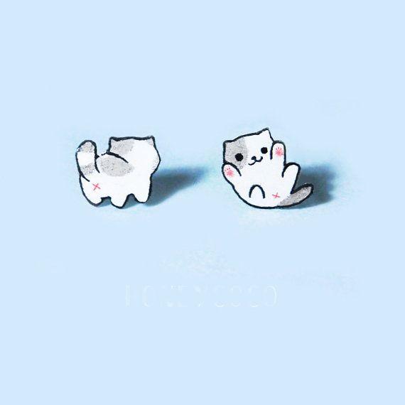 Cute Cartoon cat stud earrings 925 sterling by SilverUniqueJewelry