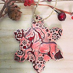 Horse Ornament - Christmas Tree Ornament - Equestrian Gift - Handmade Pottery - Ceramic Ruby Red