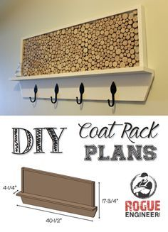 Learn How to Build a Coat Rack with Wine Cork Bulletin Board // Free Plans at RogueEngineer.com