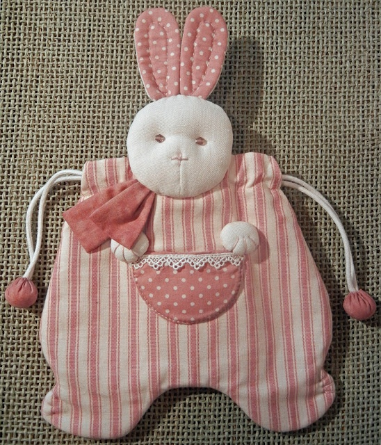 Quilted rabbit pouch, Japanese patchwork
