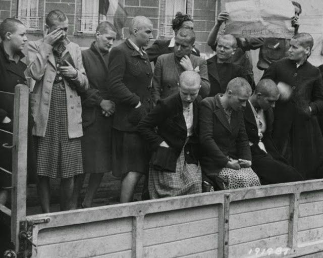 Женщины, которые сошлась с немцами во время оккупации приводятся в движение по улицам Шербура членами французского сопротивления. Их головы были выбриты, чтобы унизить их. Перкс спать с эсэсовцами были дополнительные рационы или качества продуктов питания, доступ к запрещенным предметы роскоши, такие как духи и чулки и свободу от некоторых ограничений. Недостатком, как видно их современники, которые впоследствии расстрелянных или остракизму и унижали их было соучастие в - или, возможно, даже…