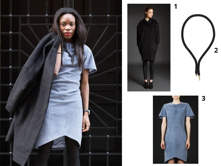 Get the look from Anothamista: 1. Wool Coat by Uneins available at http://shop.anothamista.com/product/elisabeth-coat 2. Necklace by Chaca available at http://shop.anothamista.com/product/d-mini 3. Blue Leather Dress by Uneins available at http://shop.anothamista.com/product/bette-dress