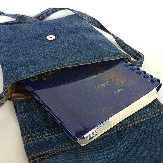 small messenger bag recycled crossbody denim purse by Sisoibags