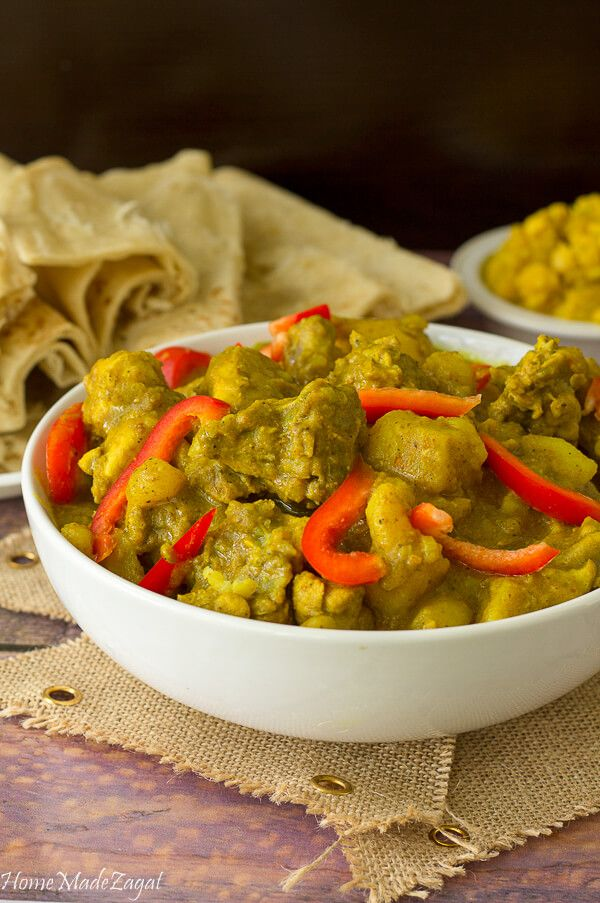 A delicious curry chicken dish, infused with various spices that can be eaten with rice or with roti.