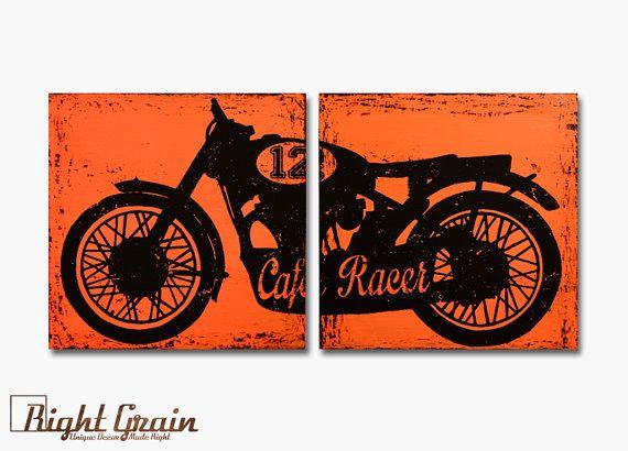 Vintage Cafe Racer Garage Art  Vintage Racer Print by RightGrain