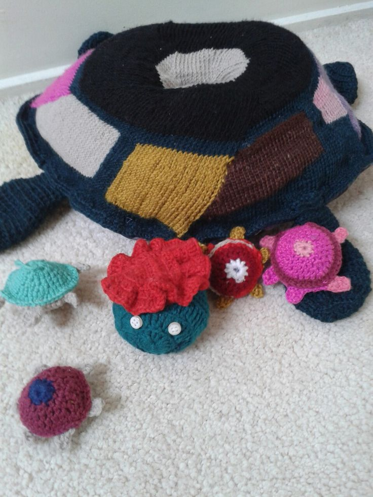 Momm and kids turtle (knitt+crochet)