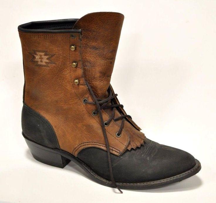 Soletech Womens Cowboy Western Horse Aztec Boots Paddock Riding Size 10 Leather #soletech #CowboyMule