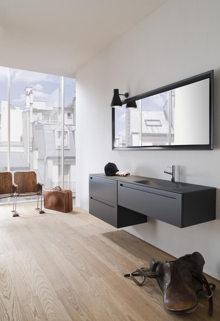 Vis Veneto Collection by Falper. Top in satin grey smoke glass, lacquered furniture, internal drawers in red chicory oak. http://www.falper.it/en/prodotti/veneto