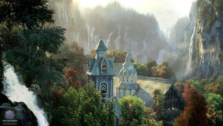 Rivendell matte paintings from The Fellowship Of The Rings