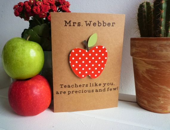 Personalised teacher card apple teacher appreciation card personalized teachers like you are precious and few teacher gift