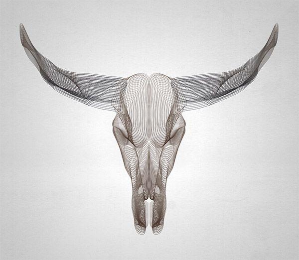 Wireframe Animal Skulls Using Illustrator's Blend Tool
