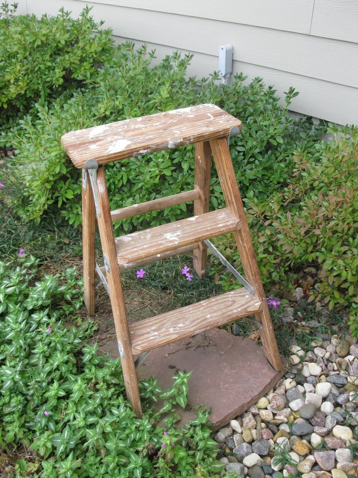 Vintage Wooden Step Ladder Heavy Duty Step Stool