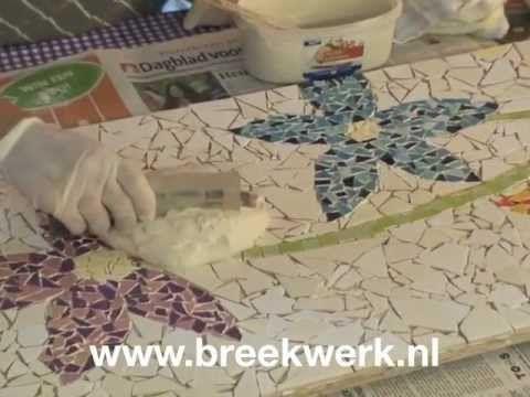 ▶ mozaiek kunstwerk voegen - YouTube