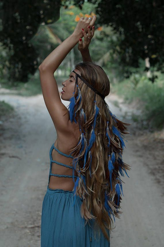                                                                                                                                            Handcrafted,handmade,headband .Blue feathers headband with braids.Headband with feather,boho style,boho chic,gypsy,gypsy style,hippie,native american.