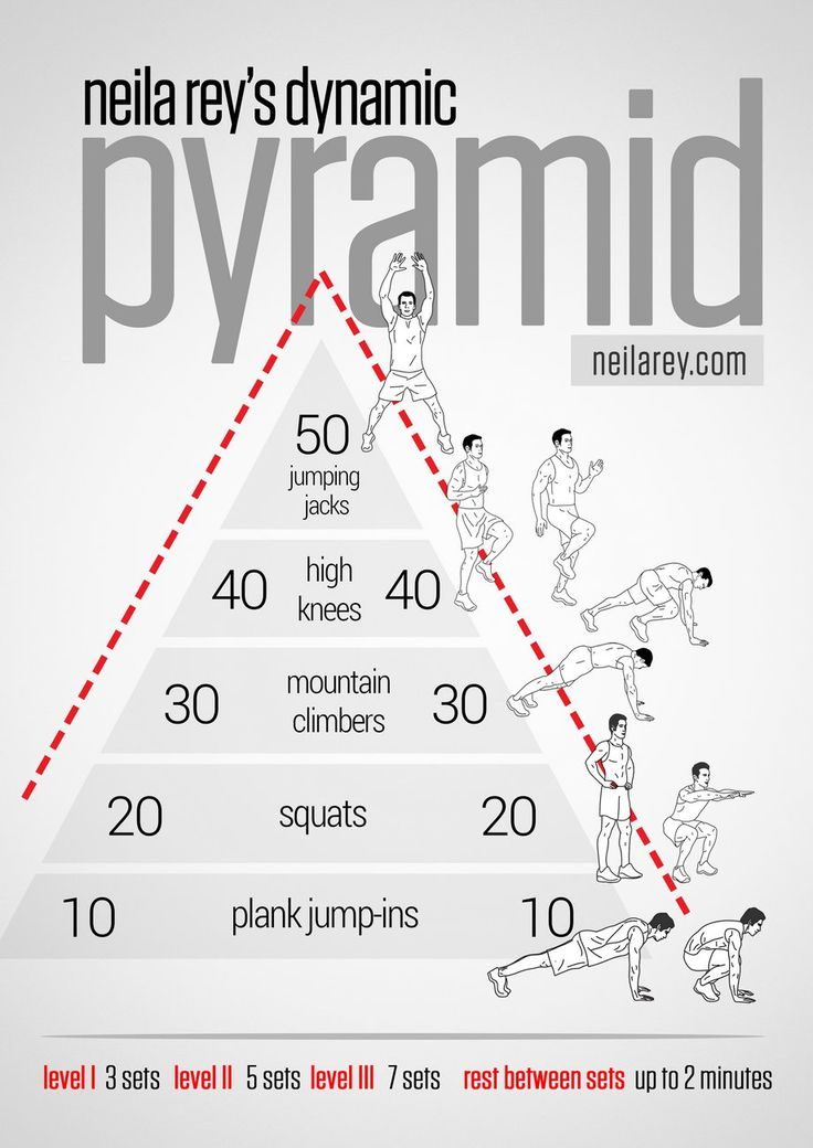 Pyramid Workout What it works: Cardiovascular system, anaerobic system, aerobic system, quads, shoulders, chest, triceps, biceps, abs, lower abs.