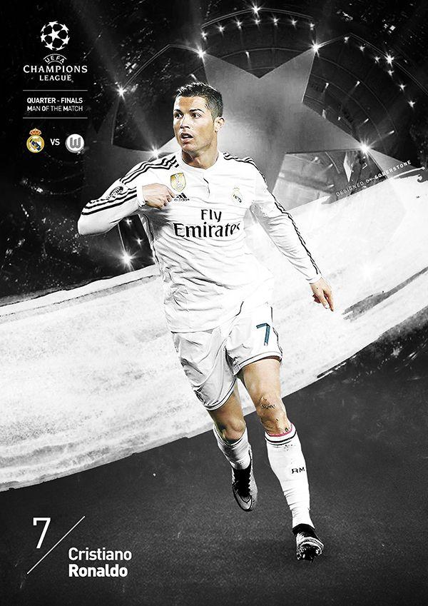 Soberstone works. Soccer. Football. UEFA Champions League. Quarter Final. MOM. Real Madrid. Cristiano Ronaldo. Poster. Illustration.