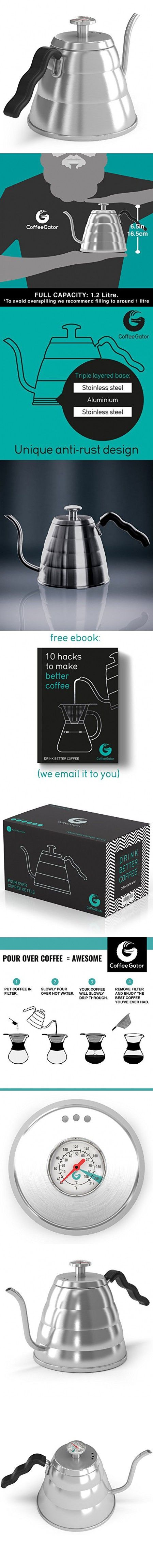POUR OVER Coffee Kettle 1L - Stop Burning Your Beans - THERMOMETER Built-in by Coffee Gator - For Perfect Hand Drip Coffee