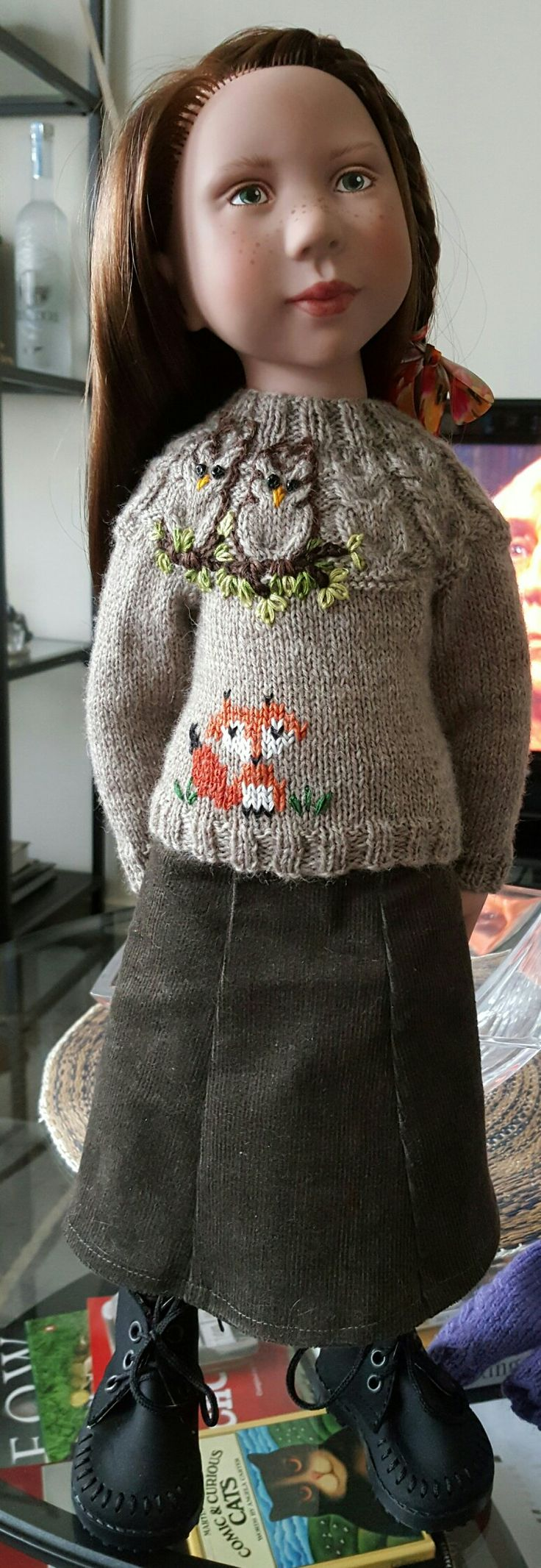 Swish and Swirl owl pattern. Added a little fox to make it a Springtime Woodland theme jumper.