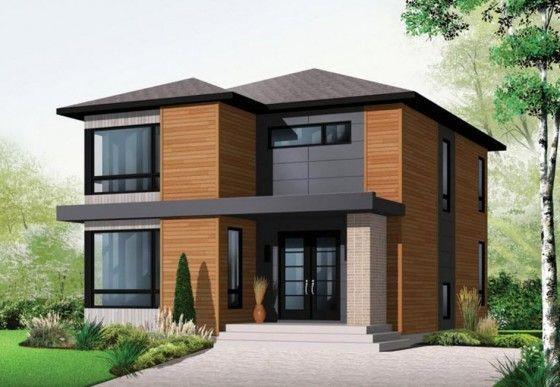 Casa de 86 m2. en su fachada se ha empleado listones en madera, colocados en forma horizontal, un muro de ingreso principal con ladrillo caravista y techos a cuatro aguas.