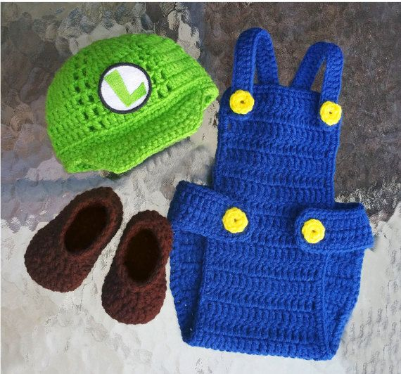 Mario and Luigi Inspired Baby Photo Prop twins clothing by GuGaGii