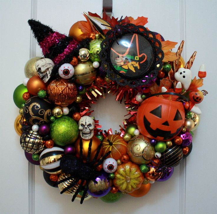 "Halloween Ornament Wreath Vintage Inspired ""Halloween Party"" w/ Pumpkin, Witch, Skull, Eyeballs Beistle Die Cut Kitsch Green Purple Door by KitschmasWreaths on Etsy https://www.etsy.com/listing/483323289/halloween-ornament-wreath-vintage"