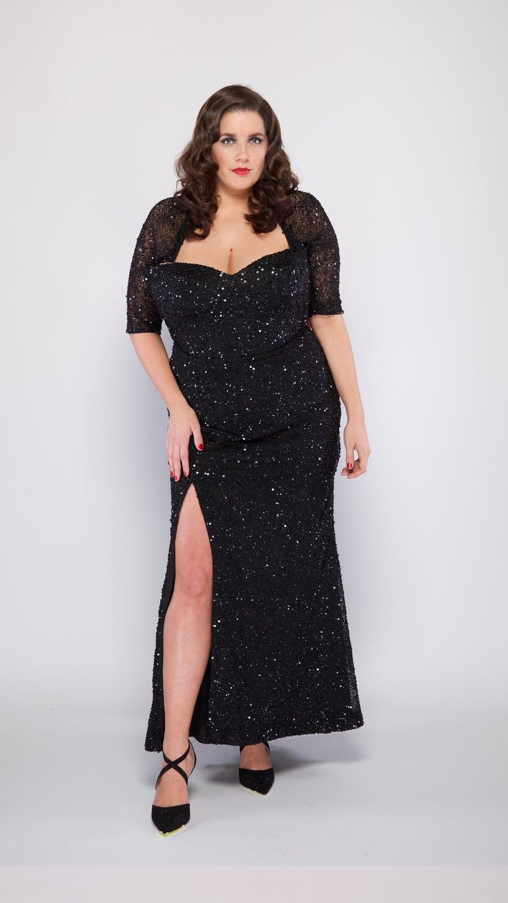 MAYA is our favourite classic red carpet gown. Designed with a fully sequinned fabric, corset bodice and a sweet heart neckline and sexy front split. A gorgeous design for a women with curves. #bodypositive #plussizefashion #plussize #redcarpet #glamour #melbournelabel