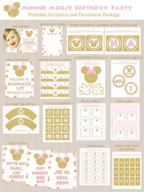 Gold and Pink Minnie Mouse Birthday Party Printables, Minnie Mouse Party Decorations, Gold Glitter, Pink, Printable, Personalized